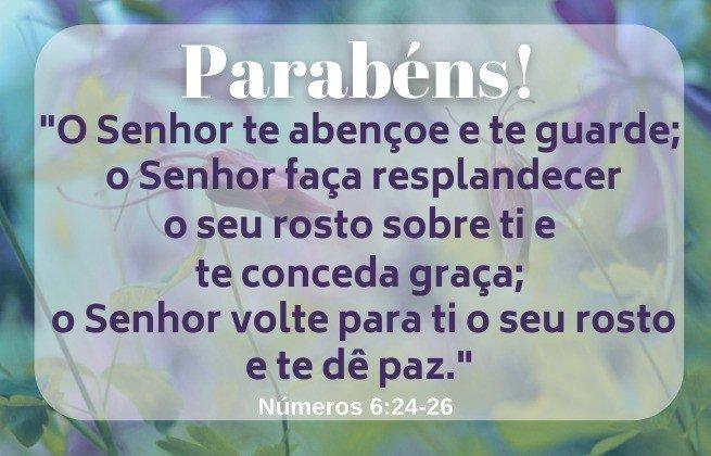 Parabéns, Versículo Números 6:24-26, imagem de fundo floral