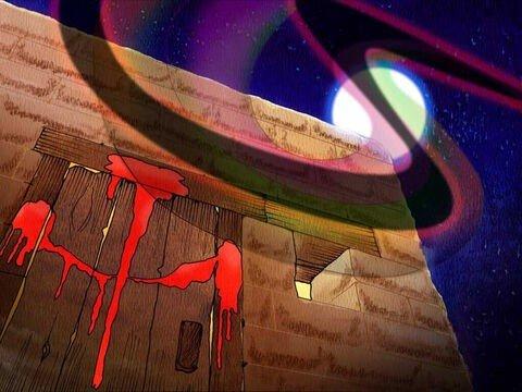 Imagem de uma porta com sangue nos umbrais, formando sinal da cruz