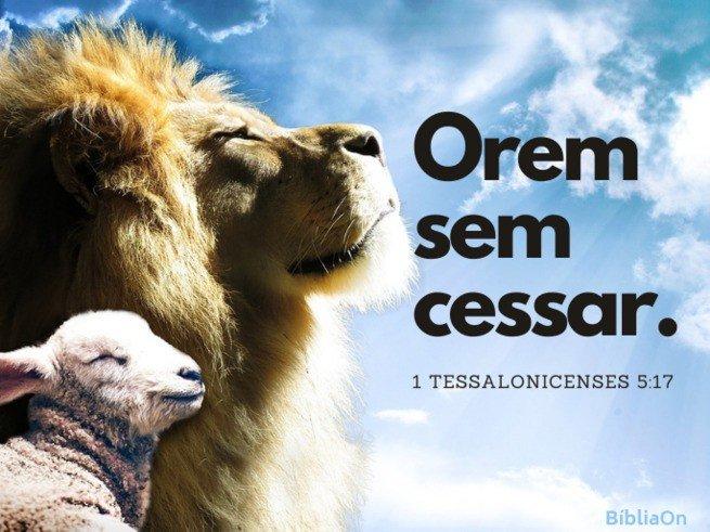 Imagem fundo cordeiro e leão - 1 tessalonicenses 5:17 - Orem sem cessar
