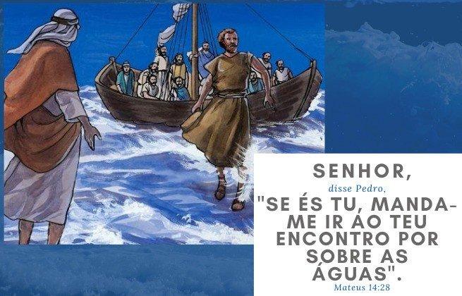 Ilustração - Pedro anda sobre as águas - Mateus 14:28 - Se és tu, manda-me ir contigo sobre as águas