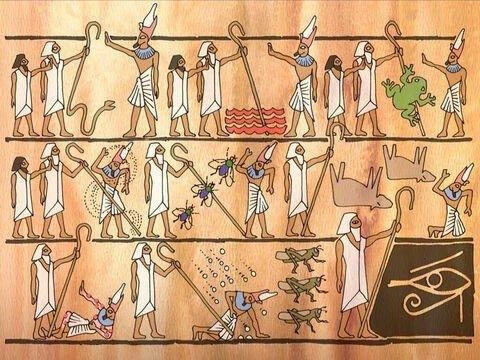 Ilustração da sequência das pragas do Egito