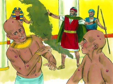 Ilustração Moisés perante Faraó, início da praga das úlceras