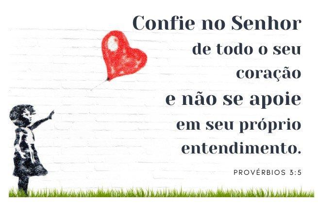 Versículo Bíblico - Provérbios 3:5 - imagem grafiti de uma criança e um balão de coração voando no alto