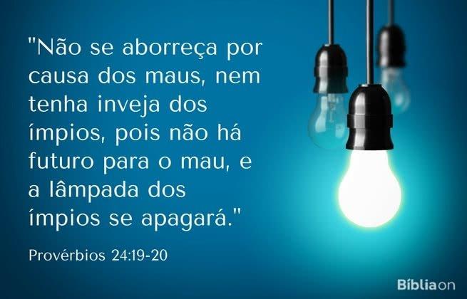 """""""Não se aborreça por causa dos maus, nem tenha inveja dos ímpios, pois não há futuro para o mau, e a lâmpada dos ímpios se apagará."""" Provérbios 24:19-20"""