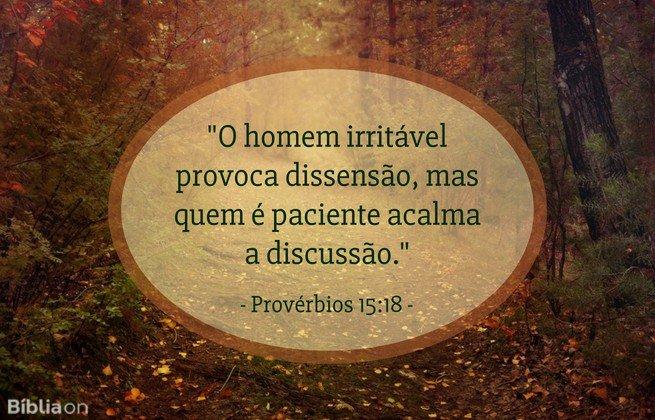 O homem irritável provoca dissensão, mas quem é paciente acalma a discussão. Provérbios 15:18