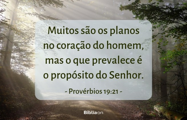 Muitos são os planos no coração do homem, mas o que prevalece é o propósito do Senhor.Provérbios 19:21