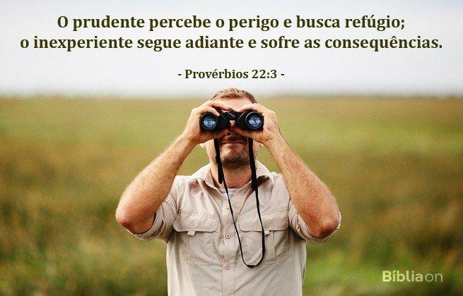 'O prudente percebe o perigo e busca refúgio; o inexperiente segue adiante e sofre as consequências'. Provérbios 22:3