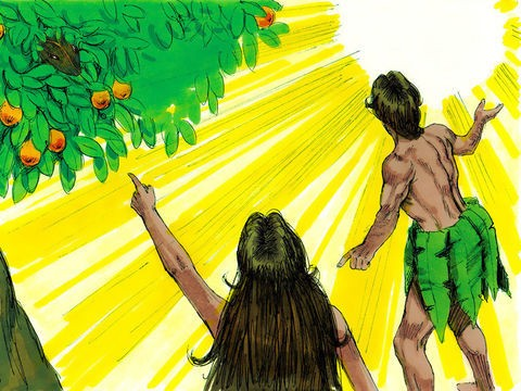 Adão e Eva tentam se desculpar do seu erro perante Deus