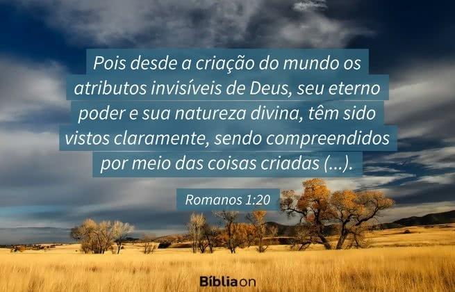 Pois desde a criação do mundo os atributos invisíveis de Deus, seu eterno poder e sua natureza divina, têm sido vistos claramente, sendo compreendidos por meio das coisas criadas (...). Romanos 1:20