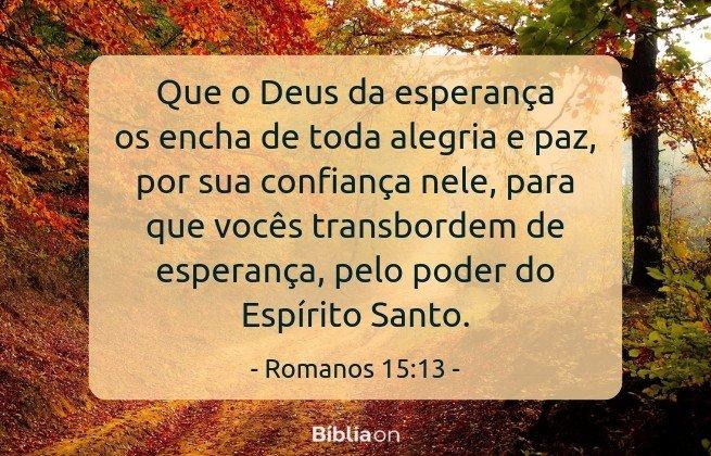 Que o Deus da esperança os encha de toda alegria e paz, por sua confiança nele, para que vocês transbordem de esperança, pelo poder do Espírito Santo.Romanos 15:13