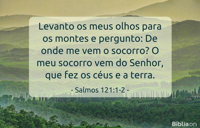 Levanto os meus olhos para os montes e pergunto: De onde me vem o socorro? O meu socorro vem do Senhor, que fez os céus e a terra. Salmos 121:1-2