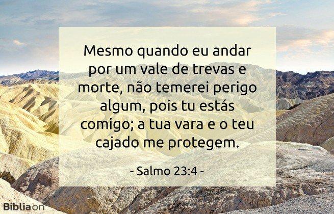 Mesmo quando eu andar por um vale de trevas e morte, não temerei perigo algum, pois tu estás comigo; a tua vara e o teu cajado me protegem. Salmo 23:4