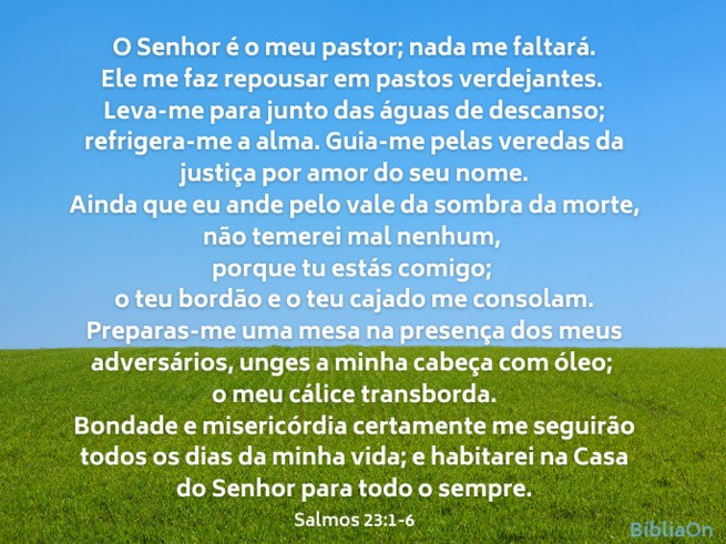 Imagem de fundo campo verde e céu azul - Salmo 23 completo