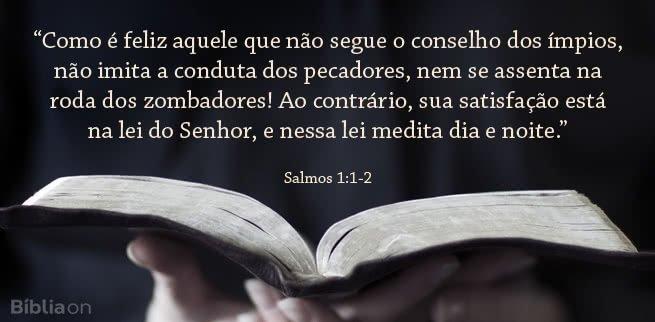 Como é feliz aquele que não segue o conselho dos ímpios, não imita a conduta dos pecadores, nem se assenta na roda dos zombadores! Ao contrário, sua satisfação está na lei do Senhor, e nessa lei medita dia e noite. Salmos 1:1-2