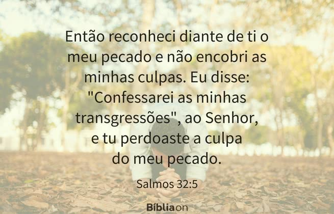 """Então reconheci diante de ti o meu pecado e não encobri as minhas culpas. Eu disse: """"Confessarei as minhas transgressões"""", ao Senhor, e tu perdoaste a culpa do meu pecado. Salmos 32:5"""
