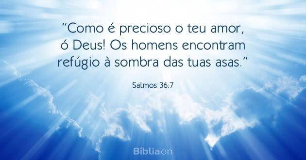 """""""Como é precioso o teu amor, ó Deus! Os homens encontram refúgio à sombra das tuas asas."""" Salmos 36:7"""