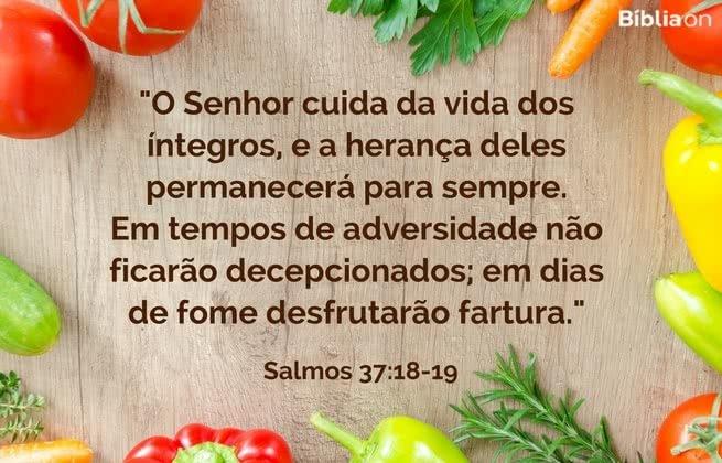 O Senhor cuida da vida dos íntegros, e a herança deles permanecerá para sempre. Em tempos de adversidade não ficarão decepcionados; em dias de fome desfrutarão fartura. Salmos 37:18-19