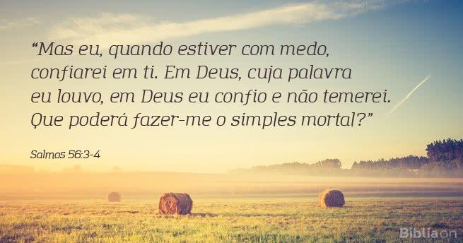Mas eu, quando estiver com medo, confiarei em ti. Em Deus, cuja palavra eu louvo, em Deus eu confio e não temerei. Que poderá fazer-me o simples mortal? Salmos 56:3-4