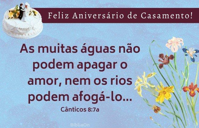 Imagem de bolo casamento e flores - Versículo Cânticos 8:7a - As muitas águas não podem apagar o amor, nem os rios podem afogá-lo.