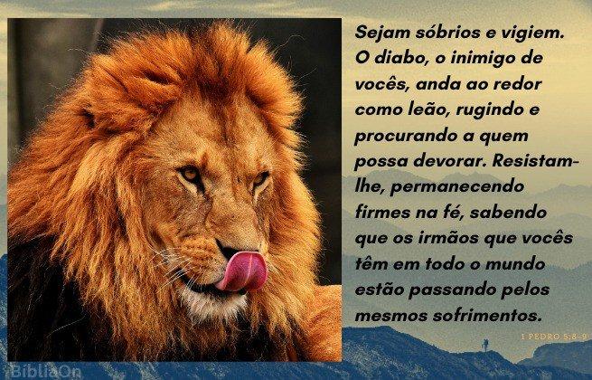Imagem leão - Versículo 1 Pedro 5:8-9 - Sede sóbrios e vigilantes...