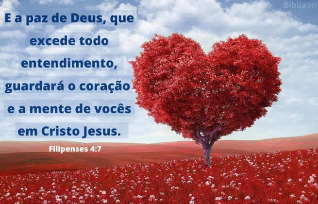 Filipenses 4:7 - imagem de árvore em formato de coração num campo florido