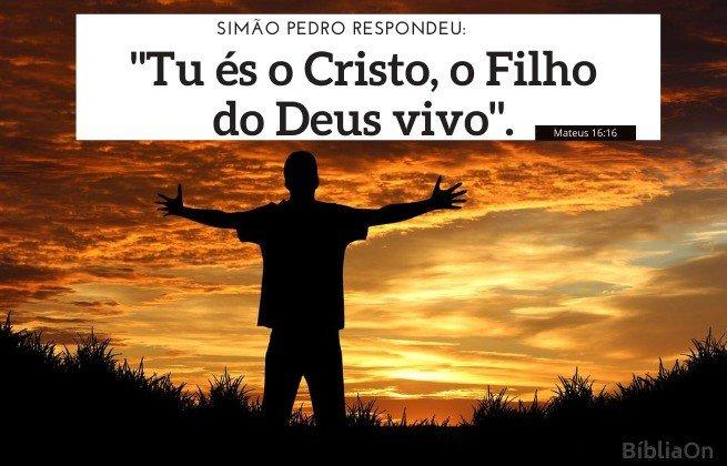 Imagem homem ao pôr do sol, rendição, mãos levantadas ao céu - Versículo Mateus 16:16 - Tu és o Cristo, o Filho do Deus Vivo -