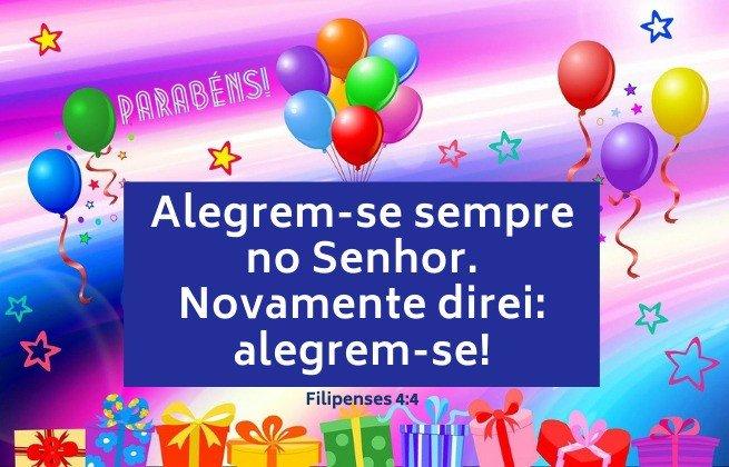 Imagem alegre e colorida de aniversário - Versículo Filipenses 4:4 - Alegrem-se. Novamente direi: Alegrem-se!
