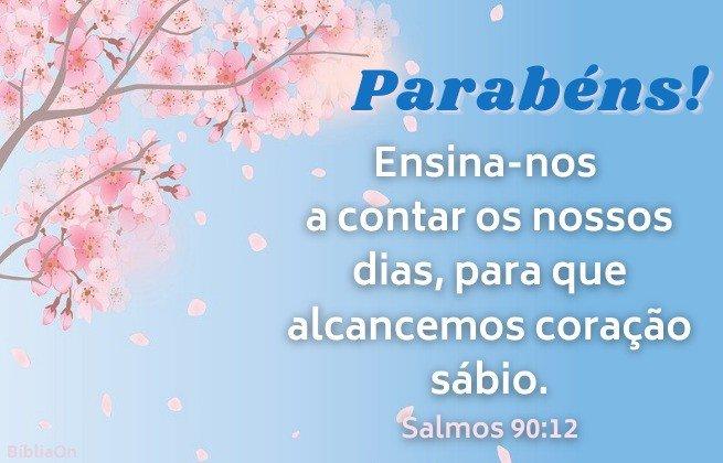 Imagem céu azul árvore com flores rosas - Versículo salmos 90:12 - Ensina-nos a contar os nossos dias para que alcancemos coração sábio.